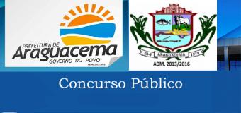 A Prefeita Municipal de Araguacema, Estado do Tocantins,  torna pública a abertura de inscrições para a realização de CONCURSO PÚBLICO DE PROVAS