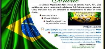 Convite para o desfile de 7 de Setembro
