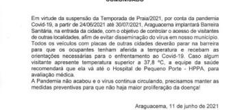BARREIRA SANITÁRIA EM ARAGUACEMA EM PERÍODO DE TEMPORADA DE PRAIA