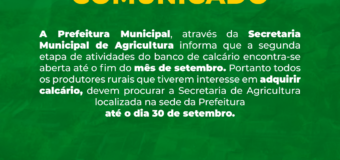COMUNICADO SOBRE O BANCO DE CALCÁRIO
