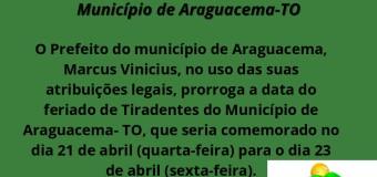 19.04.2021 Alteração na data do feriado de Tiradentes