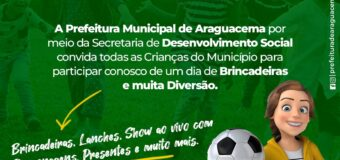 A Prefeitura Municipal convida todas as crianças para participar de um Dia de Brincadeiras