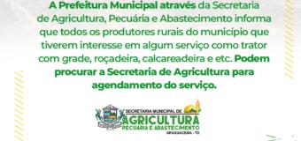 Informativo da Secretaria de Agricultura aos produtores rurais do município